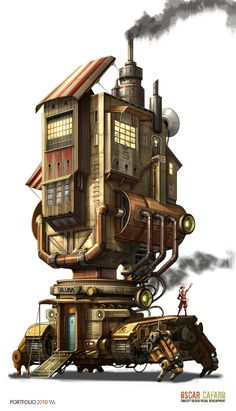 Quadrupedal walking building.  Also has treads.  Probably a factory, could be a house.