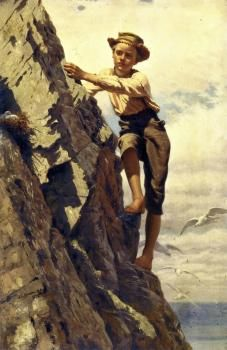 """""""Great Risk for Small Gains,"""" 1878 -- by John George Brown (British-born American, 1831–1913)"""