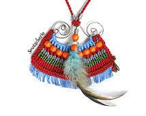 Ethnic macrame necklace - Inca inspired jewelry - Red fabric necklace