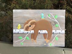 Sloth Wall Art Sloth Gift Home Decor Spring Decor Summer Mason Jar Flower Arrangements, Mason Jar Flowers, Diy Candle Holders, Diy Candles, Painted Rocks, Hand Painted, Dorm Walls, Wood Wall Art, Decoration