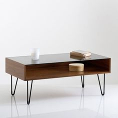 Watford Glass Top Walnut Coffee Table LA REDOUTE INTERIEURS This coffee table elegantly combines a deep walnut finish with a tempered glass top and steel legs for a vintage vibe.