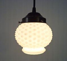 Sweet. Vintage Milkglass Hobnail Globe PENDANT Light by LampGoods