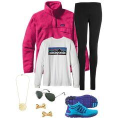 preppy tshirt + leggings + Patagonia jacket + Nike frees + RayBans