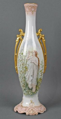 Limoges Portrait Vase Very Large  21 Inch by cinderella88 on Etsy, $399.00