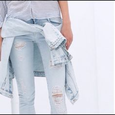 ✨HP✨ ZARA skinny destroyed denim These jeans are amazing! Bleached denim, destroyed. Skinny fit. Trafaluc premium wash. Nice and stretchy but fitted so best fits a 24 or 25. Purchased on posh and never worn personally, previous seller wore once. They are in great condition. 98% cotton 2% elastane. Zara Jeans