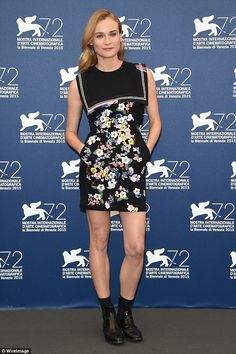 Leading the glamour: Diane Kruger kicked off Venice Film Festival 2015 in spectacular style on Wednesday with a pretty petal print dress