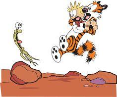 Calvin and Hobbes meets an alien  By Bill Watterson