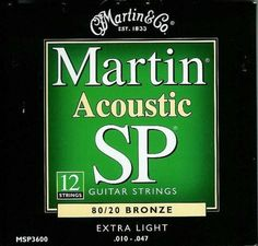 Martin MSP3600 SP 80/20 Bronze 12-String Acoustic Guitar Strings, Extra Light by Martin. $7.99. Martin MSP3600 Studio Performance 12-String Bronze Wound Extra Light Acoustic Guitar Strings are made with a unique composition that gives brilliance, clarity, and longevity of sound. Bronze winding is ideally suited for strings that have deep, rich basses and clear, bright trebles.