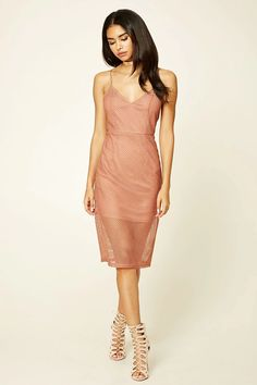 75f6fff661089 A sleeveless bodycon dress featuring an allover semi-sheer textured  netted-mesh