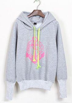 Light Grey Hooded Anchor Print Fluff Sweatshirt