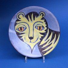 A Tessa Fuchs (1936 - 2012) Tiger Face Art Pottery Dish - OnlineGalleries.com
