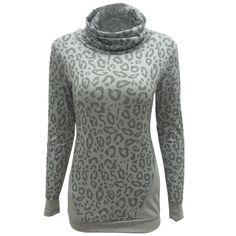 Leopard Patchwork Women Maternity Turtleneck Long Sleeve Thumb Hole Shirt