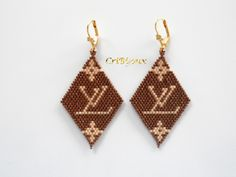 Dangle Earrings – DIAMONDS EARRINGS BRICK STITCH LV – a unique product by cribijoux on DaWanda