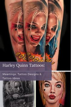 Harley Quinn is a colorful character and a lot of fun, so she looks great in full-color pieces. That said, she'd look great in anything. So if your heart says black and white, follow those dark desires where they may lead.If you're ready for a big commitment, some of the most striking pieces are portrait tattoos of Margot Robbie as Harley Quinn. That said, portraits tend to take up a lot of skin real estate. Unique Tattoos For Women, Cool Tattoos For Guys, Cool Small Tattoos, Girls With Sleeve Tattoos, Best Sleeve Tattoos, Girl Tattoos, Harley Quinn Tattoo, Single Needle Tattoo, Color Tattoos