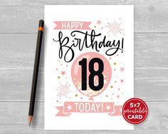 Printable Birthday Card in Pink - Happy Birthday 18 Eighteen Today! for her- plus printab Happy Birthday Wishes For Her, Happy Birthday Nephew, Happy Birthday 18th, 18th Birthday Cards, Birthday Wishes For Boyfriend, Birthday Presents For Him, Birthday Gifts, Simple Birthday Decorations, Birthday Ideas