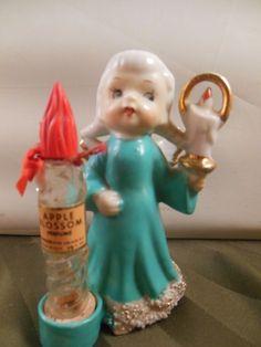 Vtg APPLE BLOSSOM PERFUME Christmas Vanity Angel with Candle