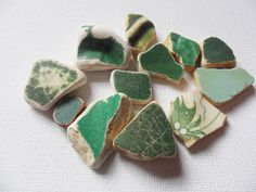 12 green and cream northumberland sea pottery - Lovely English beach find pieces by UKSeaGlassStore on Etsy My Etsy Shop, Pottery, English, Sea, Green, Projects, Ceramica, Log Projects, Blue Prints