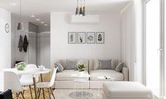 Projekt mieszkania. Kraków Nowe Czyżyny, profesjonalista: PRØJEKTYW | Architektura Wnętrz & Design | homify Small Apartments, Small Spaces, Home Interior Design, Gallery Wall, Couch, Living Room, Furniture, Home Decor, Bathroom