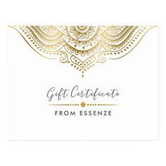 Shop Gold Mandala Gift Certificate Design Postcard created by ArtOnCardsStamps. Massage Gift Certificate, Gift Certificate Template, Certificate Design, Gift Certificates, Customizable Gifts, Customized Gifts, Personalized Gifts, Work Gifts, Company Gifts