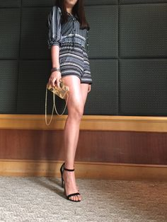 Chic Geometric Print Lace-up Front Romper.Check more from www.oasap.com .