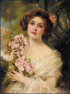 Emile Vernon (1872-1920) - Jeune femme aux roses