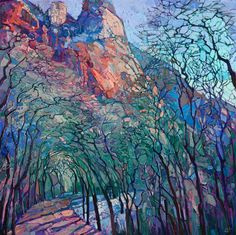 Wintry cottonwoods cover this snow-bounded pathway in Zion National Park. The tall trunks reach high into the sky, creating abstract mosaic patterns of color between their branches. The brush strokes in this painting are loose and impressionistic, a modern mosaic of color and texture.  Journey through Zion  |  2016  |  OIL ON CANVAS by erin hanson  |  58 x 58 in