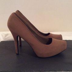 Qupid Velvet Heels - Tan/Taupe