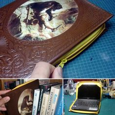 Make an original laptop covering using a discarded hardcover book and a long zipper, you might even have all the materials at home already.