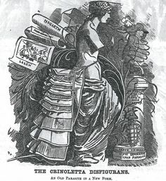 The Crinoletta Disfigurans; An Old Parasite in a New Form. Drawn by Linley Sambourne (1844-1910) in 1882 for Punch magazine #fashionhistory #history #fashion #dress #costume #Victorian