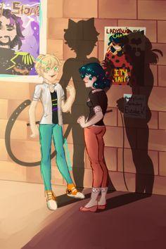 Marinette and Adrien Ladybug E Catnoir, Ladybug Comics, Cn Fanart, Marinette E Adrien, Los Miraculous, Bugaboo, Miraculous Ladybug Fan Art, Cat Noir, Mlb