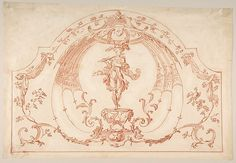Design for Ornament with a Flutist (recto); Design for molding (verso) Gilles-Marie Oppenord