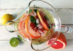 A refreshing fruit infused water recipe, featuring mint, grapefruits, limes, and lemons. This beverage is great for your metabolism!
