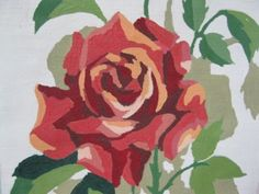 Roses are Red Vintage 1950's Paint by Numbers Rose by InWithTheOld.  I remember doing this one when I was a girl.