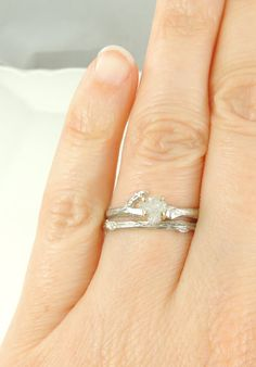 Rough Diamond Branch Engagement Ring 14k by PointNoPointStudio