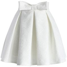 Chicwish Sweet Your Heart Jacquard Skirt in White ($42) ❤ liked on Polyvore featuring skirts, bottoms, white, white pleated skirt, heart skirt, bow skirt, embellished skirt and pleated skirt