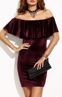 Flash Sale-$11.99 for Burgundy Ruffle Off The Shoulder Velvet Bodycon Dress. By SHEIN.