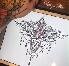 Tattoos - Tätowierungen - Tattoo Designs for Women Feminine Tattoos, Girly Tattoos, Body Art Tattoos, Sleeve Tattoos, Dotwork Tattoo Mandala, Mandala Tattoo Design, Sternum Tattoo, Home Tattoo, Tattoo Sketches