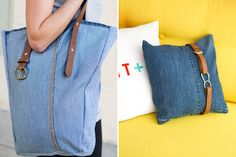 Upcycled Jeans and Belts into Pillows and Bags via Brit + Co.