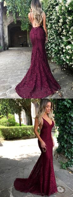 Burgundy Prom Dresses Long, Mermaid Prom Dresses Lace, V-neck Evening Dresses 2018, Tight Graduation Dresses for Teens