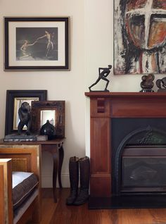 Wooden mantle with black fireplace insert Wooden Mantle, Wood Mantels, Staining Cabinets, Cabinet Stain, Black Fireplace, Fireplace Inserts, Wood Trim, Beautiful Interiors, Home Accents