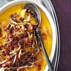 Here's a golden casserole idea: top creamy butternut squash with syrup-slathered bacon: http://www.bhg.com/recipes/seasonal/holiday-flavor-pairings/?socsrc=bhgpin092914butternutsquashmaplebaconcasserole&page=12
