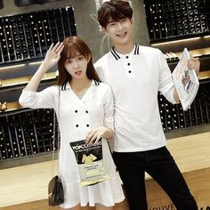Buy Je T'aime Couple Matching Long-Sleeve Polo Shirt / A-Line Dress at YesStyle.com! Quality products at remarkable prices. FREE WORLDWIDE SHIPPING on orders over US$35.