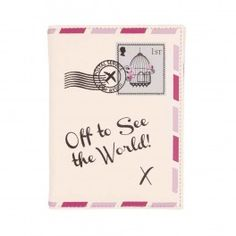 "Protect your passport from everyday wear and tear with this ""Off to see the World"" UK Passport holder by Bombay Duck. £6.99"