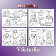 Disney Chuggington Trains Birthday Party Favor Personalized Coloring Page PDF File By VSstudio On