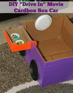 DIY Cardboard Box Car is perfect for creating a drive in movie experience for your kiddos. Easy, inexpensive fun project for imaginative play. Drive In, Cool Diy, Password Organizer, Diy Karton, Cardboard Car, Backyard Movie Nights, Cars Birthday Parties, Theme Parties, Birthday Ideas