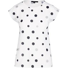 Multi Spot Tee ($32) ❤ liked on Polyvore featuring tops, t-shirts, cotton tees, metallic top, metallic t shirt, white cotton tops and white cap sleeve t shirt