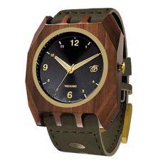 9b741dae4b7 Mistura Volkano Unisex Watch Army Green Leather Band Classic Black Dial  Wood Watch