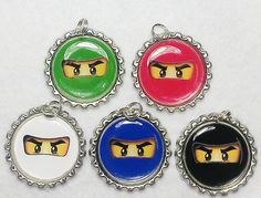 Lego Ninjago birthday party favors Ninja mask necklace or zipper pull set of 5. $9.99, via Etsy.