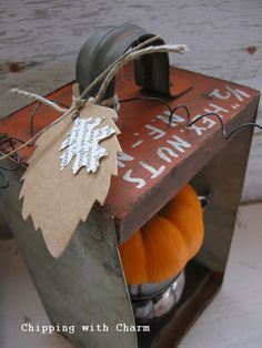 Chipping with Charm: Orange Drawer Junk Pumpkin...http://www.chippingwithcharm.blogspot.com/
