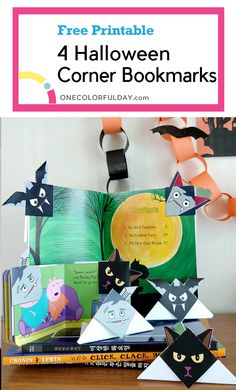 Four Halloween Bookmarks that can double as Halloween decorations. Make a vampire, a bat, a black cat, and a Frankenstein bookmark. A great craft for kids. Easy Origami For Kids, Origami Easy, Printable Crafts, Free Printables, Crafts To Make, Crafts For Kids, Corner Bookmarks, Small Pumpkins, Learn Art